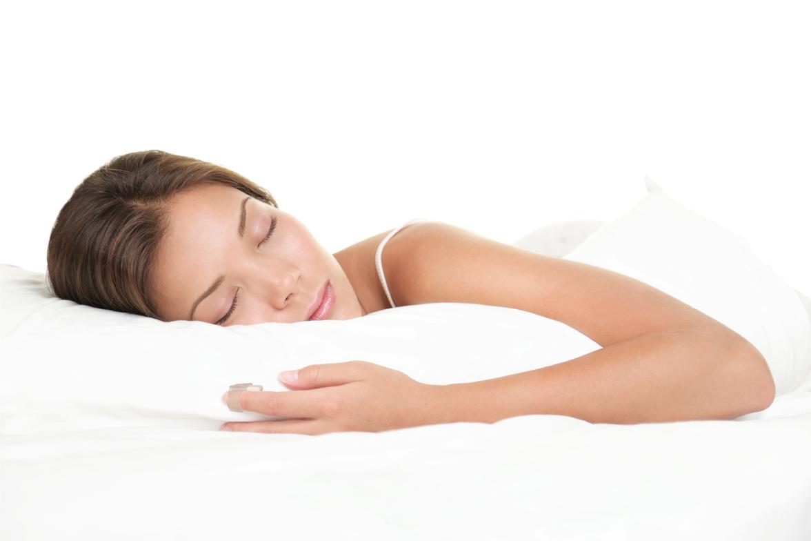 Woman sleeping on white background